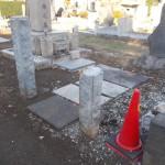 雑司ヶ谷霊園にて柱の加工をしました